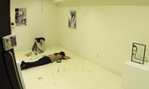 "The crime scene in Alibi's ""Framed"" interactive murder mystery"