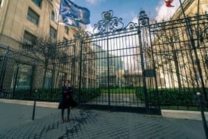 Lucie Pinson standing in front of the Axa offices in Paris