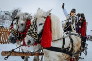 Everyone – even the horses – gets dressed up for the two days of singing, dancing and street performances