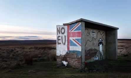 A pro-Brexit mural on the North Yorkshire moors.