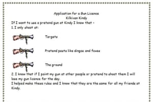 Children at Kilkivan Kindergarten in Queensland need to follow these rules before they are issued with a gun licence.