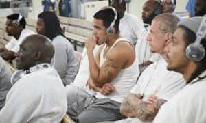Prisoners at San Quention watch the Super Bowl 50 on 7 February 2016 L to R Victor, Cory, and Preston (no last names) in H-unit