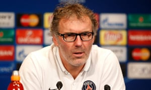 Laurent Blanc speaks at a press conference at the Parc des Princes Stadium in Paris ahead of Chelsea's Champions League match their against Paris Saint-Germain on Tuesday