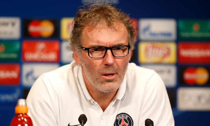Laurent Blanc speaks at a press conference at the Parc des Princes Stadium in Paris ahead of Chelsea's Champions League match their against Paris Saint-Germain on Tuesday