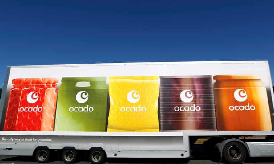 An Ocado truck returns to the Ocado depot in Hatfield
