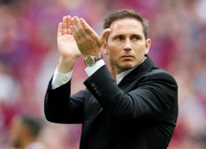 Derby County manager Frank Lampard applauds the crowd and looks shattered after the match.