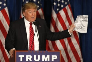Donald Trump speaks at a campaign stop in Portland, Maine.