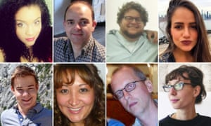 Victims of the attacks (clockwise from top left): Sabrina Fazal, Olivier Delespesse, Alexander Pinczowski, Sascha Pinczowski, Johanna Atlegrim, David Dixon, Adelma Tapia Ruiz and Leopold Hecht.