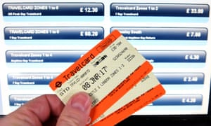 Increased new year rail fares at a ticket machine in London.