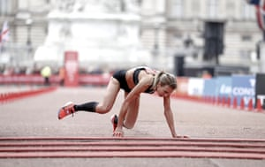 Great Britain's Hayley Carruthers attempts to finish the women's race at the 39th London Marathon.