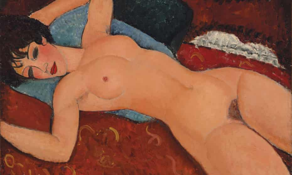 Modigliani's Reclining Nude from 1917-1918 … he portrays these women as erotic subjects in control of their own sexuality, fully able to answer the male gaze with desire of their own.