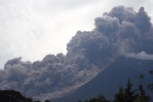 The Fuego volcano, seen from Alotenango municipality