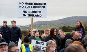 A demonstration by campaign group Border Communities Against Brexit in Newry last week.