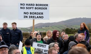 A demonstration against a hard border in Newry, Northern Ireland.
