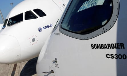 An Airbus A320neo aircraft and a Bombardier C-Series at a press conference to announce the firms' partnership.