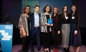 Guardian Foundation Hugo Young Award winner 2019 Lucy Knight (centre) with finalists Sam Hall, Harriet Whitehead and Joanna York, Observer chief leader writer Sonia Sodha and Guardian editor-in-chief Katharine Viner