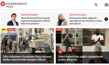 The homepage of Independent Turkish.