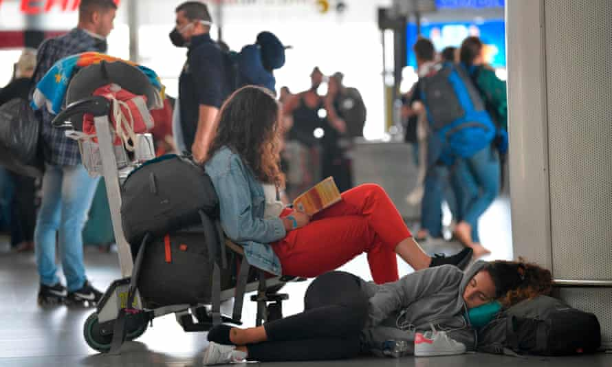 Passengers stranded at an airport in Bogota, Colombia