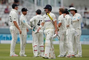 Rory Burns walks after losing his wicket.