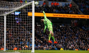 Burton Albion's Bradley Collins concedes their fourth goal scored by Manchester City's Oleksandr Zinchenko.