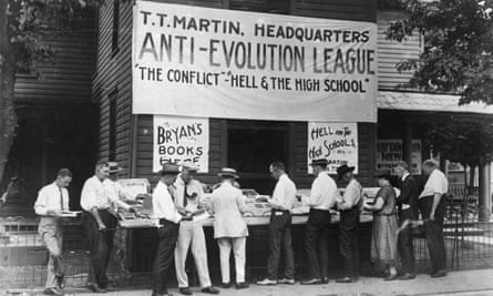 Anti-evolution books on sale in Dayton, Tennessee, where the 'Monkeyville' trial of Professor John T Scopes took place.
