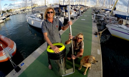 Peter Ceglinski, left, and Andrew Turton invented the Seabin device, which traps garbage floating around marinas and docks.