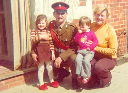 Grace Dent with her parents and younger brother Dave in their back garden in Aldershot, 1976