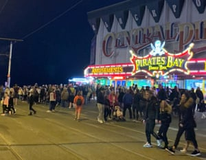 Crowds gather in Blackpool