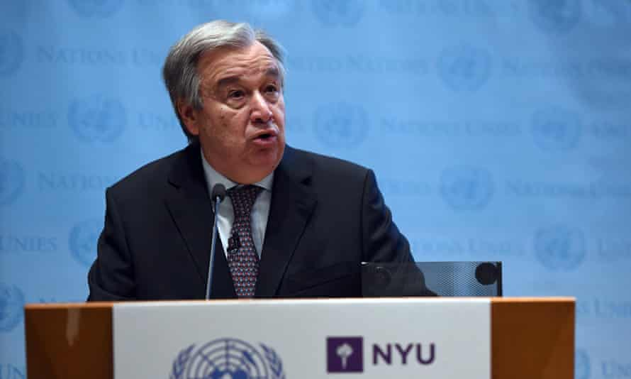 The UN secretary general, António Guterres, speaks on climate change at the New York University Stern School of Business.