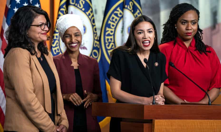 Rashida Tlaib, Ilhan Omar, Alexandria Ocasio-Crtez and Ayanna Pressley speak about Donald Trump at a press conference in Washington DC, on 15 July.