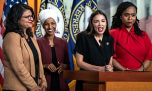 Congresswomen Rashida Tlaib, Ilhan Omar, Alexandria Ocasio-Cortez and Ayanna Pressley