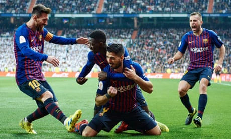 d574eafc9 Luis Suárez scores twice as Barcelona beat Real Madrid to reach cup final