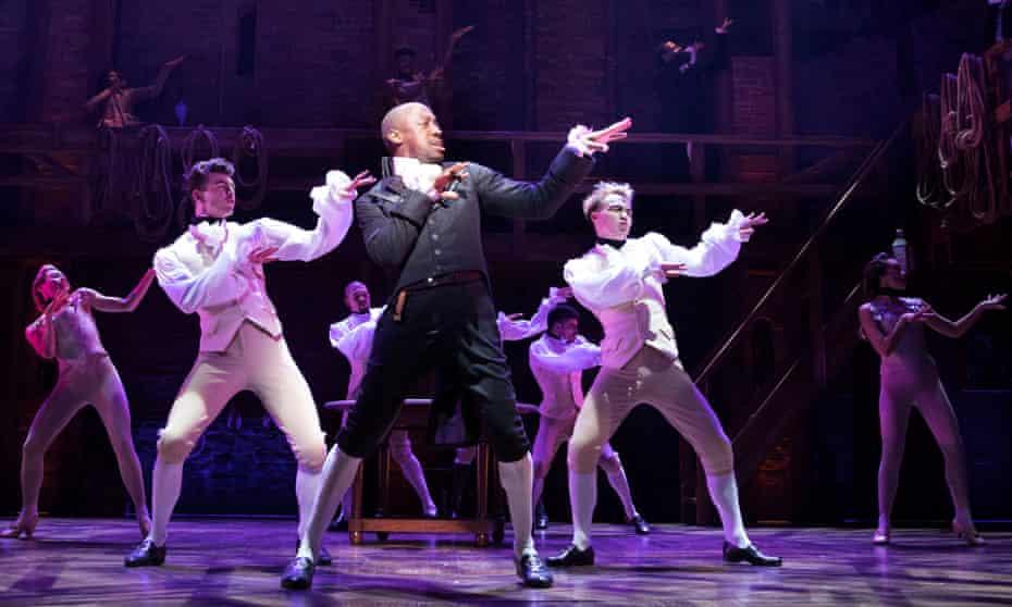Salieri to Hamilton's Mozart … Giles Terera (Aaron Burr) with the West End cast of Hamilton.