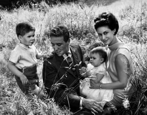 Lord Snowdon, Viscount Linley, Sarah and Princess Margaret, 1964