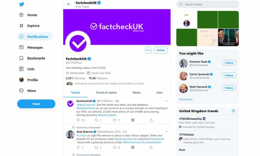 A screen grab from the Conservative party's Twitter feed on Tuesday evening. The party has faced criticism after the account was rebranded as 'factcheckUK' during the ITV leaders' debate