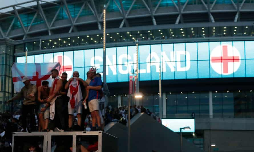 England fans outside Wembley before the Euro 2020 final. The FA and Uefa are investigating events before and after the match.