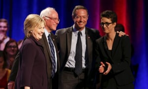 A moment of unity during the 2016 primary, as the candidates pose with the MSNBC host Rachel Maddow after a forum in South Carolina.