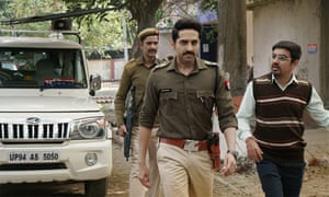 The 'arrestingly intense' Ayushmann Khurrana (centre) in Article 15.