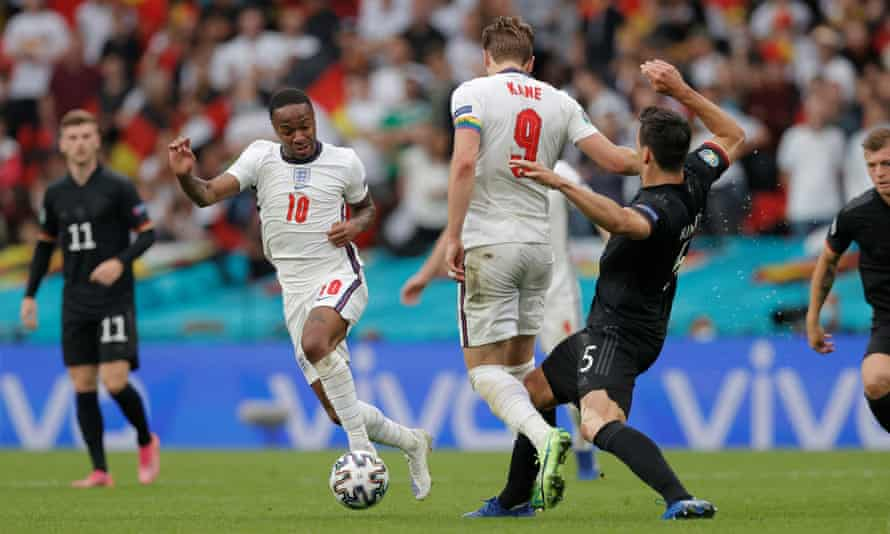 Raheem Sterling in action for England against Germany at Euro 2020, a game in which he scored the first goal.