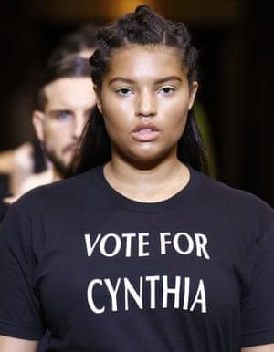 Christian Siriano's slogan T-shirt at New York fashion week.