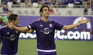 Kaká celebrates against Columbus Crew in June.
