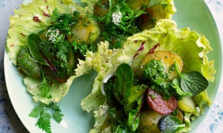 Nigel Slater's recipes for new potato salad and chocolate apricot cake