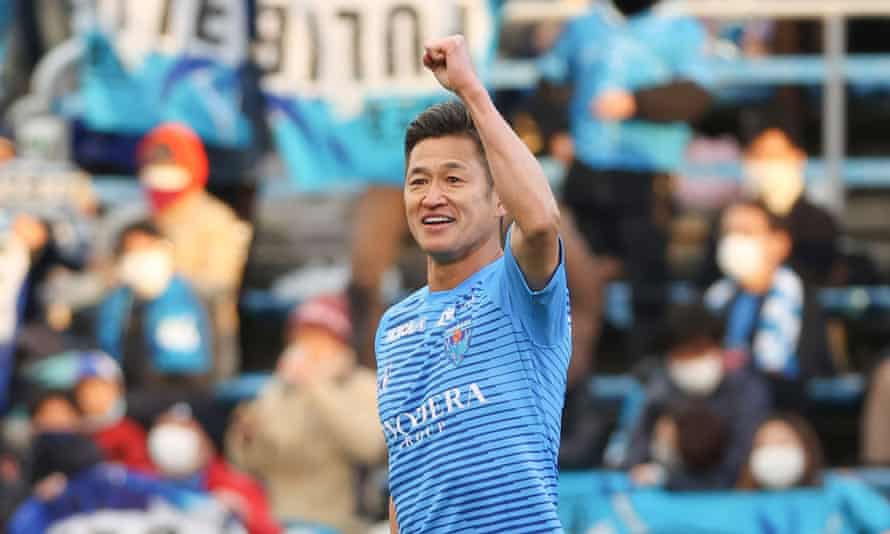 Kazuyoshi Miura pictured on 19 December, when he made his fourth appearance of the season for Yokohama FC against Yokohama F Marinos.