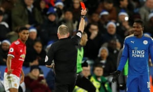 Leicester City's Daniel Amartey is sent off by referee Jonathan Moss.