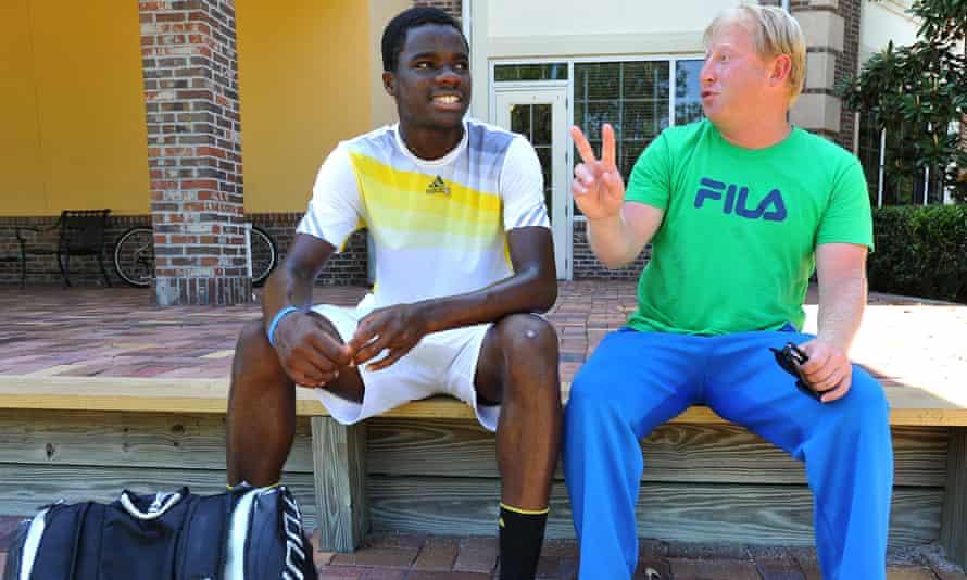 Tiafoe, aged 16, with his coach Misha Kouznetsov in Florida in 2014. Kouznetsov initially paid for Tiafoe to enter tournaments when he was a boy.