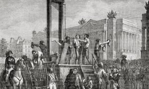 Detail from an engraving showing the execution of  Saint-Just, Robespierre and others in 1794