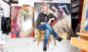 Artist Alice Instone, organiser of The Pram in the Hall exhibition, photographed by Katherine Anne Rose for the Observer in her studio at her home in Kent.
