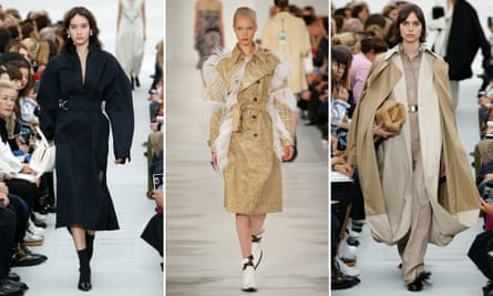 Not going out of fashion any time soon: the trenchcoat. Coats pictured here by Céline and Maison Margiela (centre).