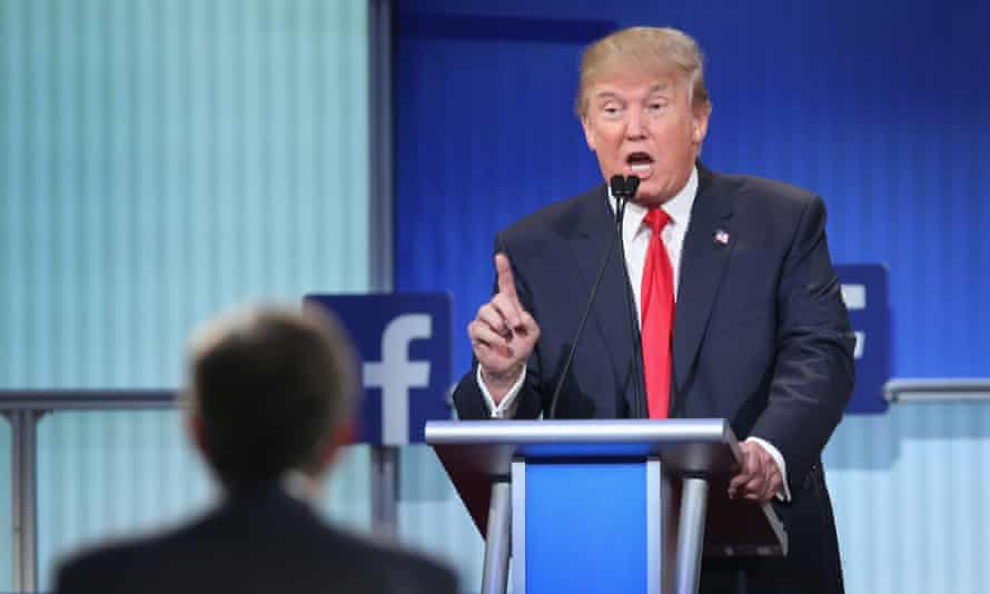 Republican presidential candidate Donald Trump fields a question during the first Republican presidential debate hosted by Fox News and Facebook.