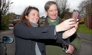 Dominic Grieve stops to take a selfie with Alex Walker, while canvassing in Marlow on Friday.